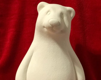 Clay Magics Cuddle Up Polar Bear in ceramic bisque ready to paint