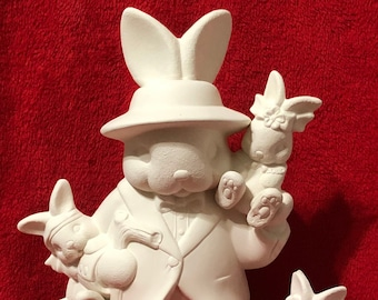 Male Rabbit and babies in ceramic bisque ready to paint