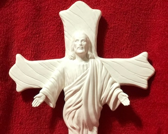 Jesus Cross in ceramic bisque ready to paint