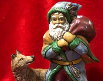 Ceramic Santa with Wolf