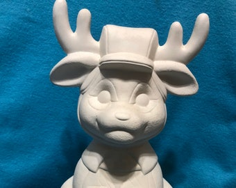 Medium Deer Hunter Ceramic Bisque ready to paint