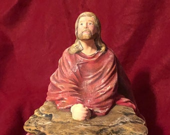 Dry Brushed Ceramic Jesus Praying using Mayco Softee Stains