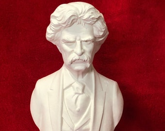 Bust of Mark Twain in ceramic bisque ready to paint