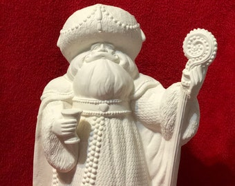 "Rare 15"" Gare Pearl Santa in ceramic bisque ready to paint"