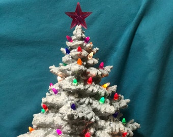 Glazed Aluminum, Mother of Pearl Ceramic Frazier Fir Christmas Tree and snow with base, light pack and your choice of bulbs