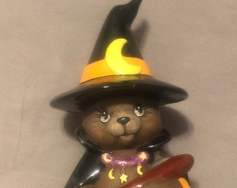 Glazed Ceramic Witch Bear