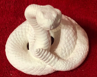 Rattlesnake in ceramic bisque ready to paint