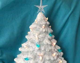 Sheer Blue Glazed Ceramic Christmas Tree with clear and blue bird light pack and base