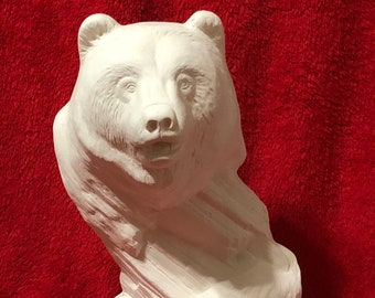 Driftwood Bear in ceramic bisque ready to paint