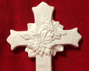 Poinsettia Cross in ceramic bisque ready to paint