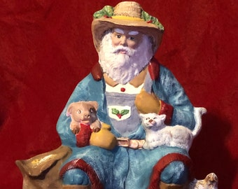 Old World Farmer Santa Claus with a pig, cat and pheasant