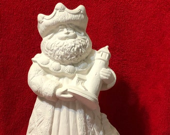 "Rare 15"" Ceramic Gare Lighthouse Santa in bisque ready to paint"
