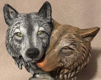 Dry Brushed Ceramic Driftwood Wolf Couple using Mayco Softee Stains