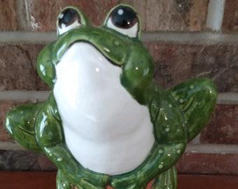 Ceramic Glazed Frog on Flower Pot