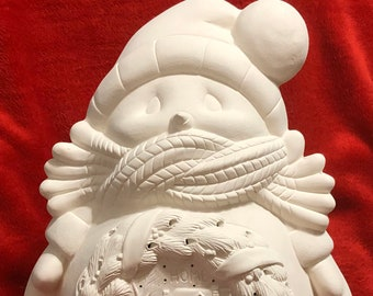 Large Cuddle Up Snow Man with holes for lights ceramic bisque ready to paint