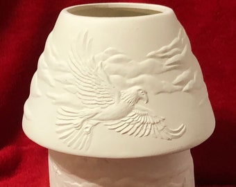 Wild Eagle Scene Candle Holder with Lamp Shade ceramic bisque ready to paint