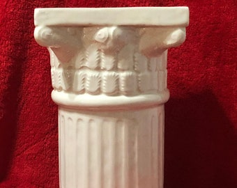 Milk Glass Glazed Ceramic Corinthian Pedestal