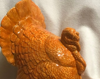 Autumn Orange Glazed Ceramic Turkey Centerpiece