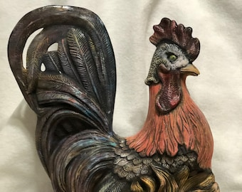 Dry Brushed Ceramic Rooster using Mayco Softee Stains