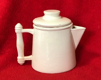 Small Milk Glass Glazed Ceramic Teapot