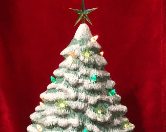 Green Glazed Ceramic Christmas Tree with white, green and holly leaf light pack with base