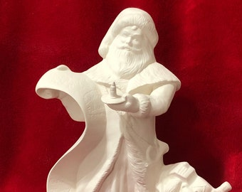 Santa checking his list in ceramic bisque ready to paint