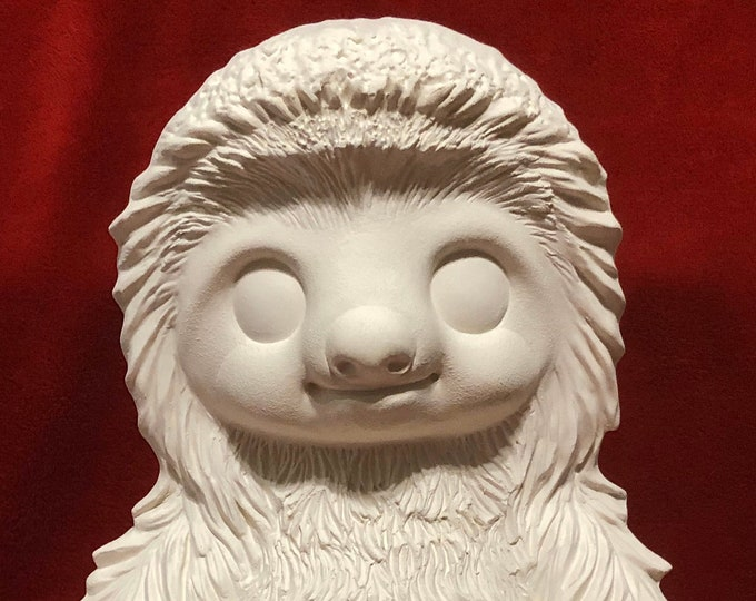 Featured listing image: Loki the Sloth in ceramic bisque ready to paint