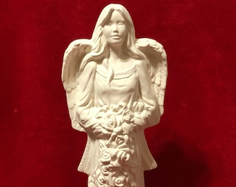 Angel with Roses in ceramic bisque ready to paint