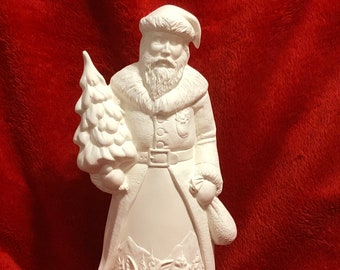 Nautical Santa with Woodland Scene ceramic bisque ready to paint