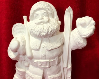 Sports Santa Claus ceramic bisque ready to paint