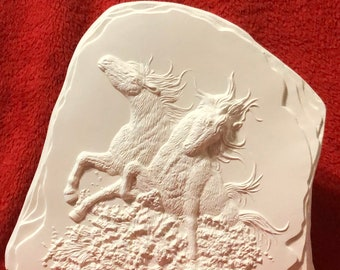 Ceramic Horses Running through water on a rock slate in bisque ready to paint