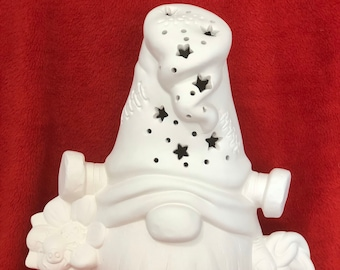 Ceramic Frankenstein Gnome with holes for light in bisque ready to paint