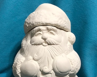 Santa Cookie Jar Ceramic Bisque ready to paint