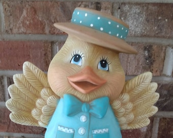 Ceramic Duck Bloomer dry brushed using Mayco Softee Stains