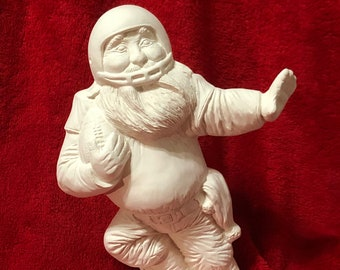 Football Santa in ceramic bisque ready to paint