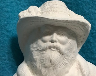Old World Santa Claus with a pig, cat and pheasant in Ceramic Bisque ready to paint