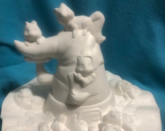 Witches Hat with squirrels ceramic bisque ready to paint