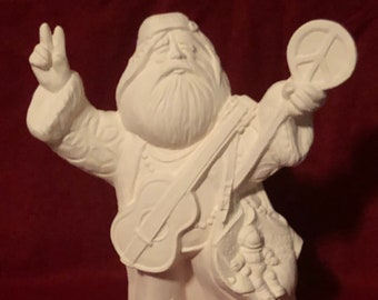 Peace and Love Santa Ceramic Bisque ready to paint