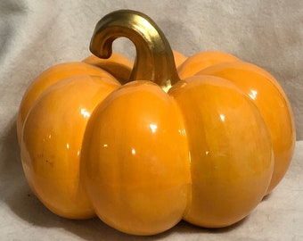 Orange Glazed Ceramic Pumpkin with Metallic Gold Stem