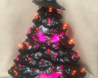 Glazed Black Ice Ceramic Mantle Halloween Tree with orange and purple light pack and Witch Hat