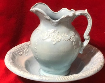 Light Blue Glazed Ceramic Bowl and Pitcher Set
