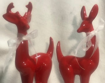 Set of Red Glazed Deer Ceramic Art