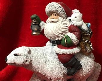 Polar Bear Santa Ceramic Art