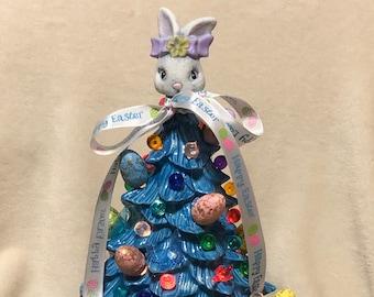 Glazed Ceramic Easter Tree with bulbs, eggs, rabbit, base and light kit