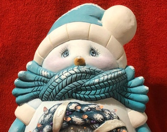Large Cuddle Up Snow Man Lighted