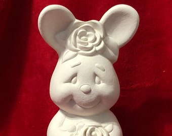 Bunny Rabbit with roses in ceramic bisque ready to paint