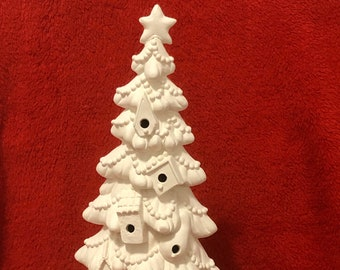 Ceramic Birdhouse Tree with Snow Base in bisque ready to paint with holes for lights