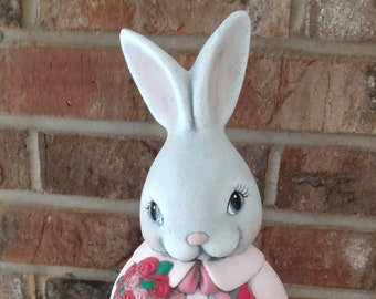 Ceramic Male Valentines Rabbit dry brushed using Mayco Softee Stains
