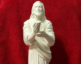 Large Jesus with Chalice in ceramic bisque ready to paint