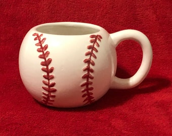 Glazed Ceramic Large Baseball Mug